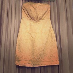 Forever 21 nude lace strapless dress small